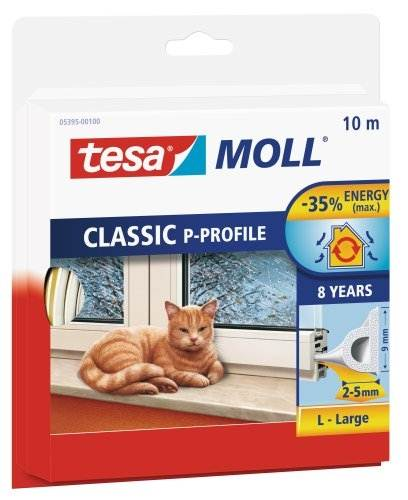Tesa Draught Excluder P Profile 10m up to 5mm gaps